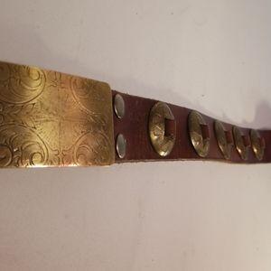 Cowboy Brass Buckle with Brass Belt